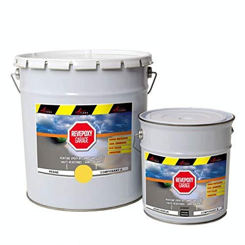 Peinture epoxy garage sol atelier local commercial magasin REVEPOXY GARAGE - Jaune zinc ral 1018 - kit 5 Kg (couvre jusqu'à 16m² pour 2 couches) - ARCANE INDUSTRIES