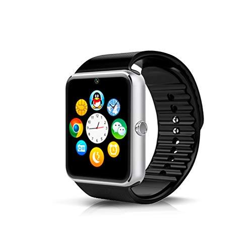 KawKaw GT08 Smartwatch mit Edelstahlgehäuse und 1,54 Zoll Farbbildschirm mit Touch-Funktion – Integrierte 1,3 MP Kamera bei federleichten 62 Gramm - Mit Fitnesstracker & SIM-Kartenslot (Silber)
