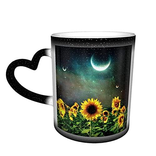 maichengxuan Taza de café unisex de viaje girasoles bajo cielo estrellado personalizado sensible al calor color cambiante taza de té de leche tazas de café mágicas