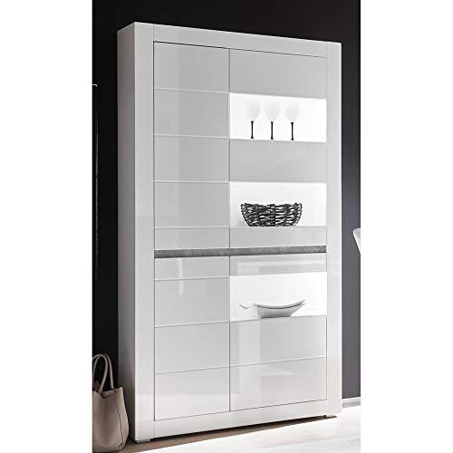 Lomadox Vitrine im modernen Design in weiß Hochglanz inkl. LED Breite: 100cm