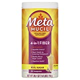 Metamucil, Natural Psyllium Husk Powder Fiber Supplement, Plant Based, 4-in-1 Fiber for Digestive Health, With Real Sugar, Unflavored, 114 teaspoons (28.1 OZ Fiber Powder)