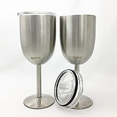 LeegionWARE Stainless Steel Wine Glasses - Double Walled Vacuum Insulated with Lid -Set of 2- 10 Oz - Made of BPA Free Shatterproof SS 304 - Dishwasher Safe - Great for Outdoors, Daily & Formal Use