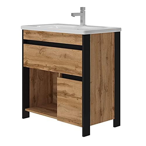 EiNSTEiN Möbel Waschtisch Bronx MONTIERT inklusive Ablaufgarnitur | Syphon | Waschbecken aus Keramik | Schwarz mit Eiche Optik | Soft-Close Funktion | Waschbecken mit Unterschrank | Montagefertig |