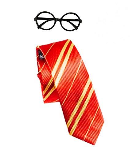 Clafund Mago Scuola Ragazzo Costume Cravatta+Occhiali Magica Mago Vestito Book Week Colore Rosso&Giallo