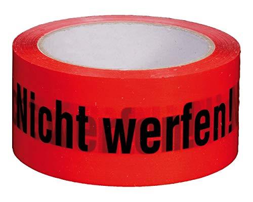 SmartBoxPro Packband Klebeband 50mmx66m, rot mit Aufdruck 'NICHT WERFEN!' / TOP-Klebeband in NO-NOISE Ausführung, 3 Stück