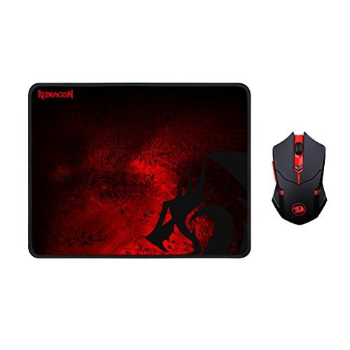 Redragon M601-WL-BA Wireless Gaming Mouse and Mouse Pad Combo, Ergonomic MMO 6 Button Mouse, 2400 DPI, Red LED Backlit & Large Mouse Pad for Windows PC Gamer (Black Wireless Mouse & Mousepad Set)