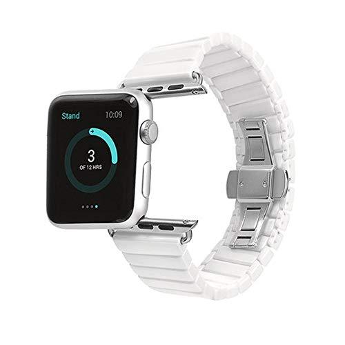 JIADUOBAO Correa compatible con Apple Watch de 38 mm, 40 mm, 42 mm, 44 mm, iWatch Series 5, 4, 3, 2 1, pulsera de repuesto para mujeres y hombres (color blanco, tamaño: 44 mm)