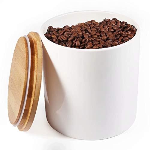 77L Keramik Vorratsdose, 2430 ML (82.09 FL OZ) Keramik Vorratsdose mit Luftdichtem Verschluss Bambusdeckel Modernes Design Weißer Vorratsbehälter aus Keramik zum Servieren von Tee, Kaffee und mehr