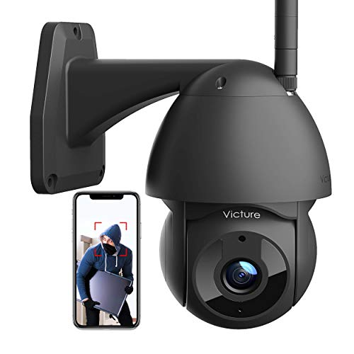 Security Camera Outdoor Victure 1080P WiFi Home Security Camera with Pan/Tilt 360° View Night Vision IP66 Waterproof Motion Detection Compatible with iOS/Android Black