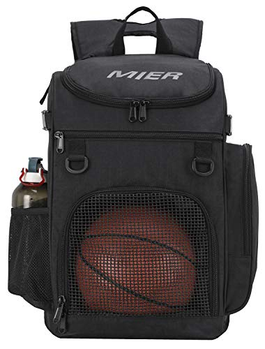MIER Basketball Backpack Large Sports Bag for Men Women with Laptop Compartment, Best for Soccer, Volleyball, Swim, Gym, Travel, 40L, Black