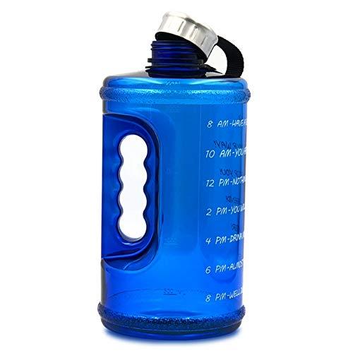Kuinayouyi Botella de Agua Grande Motivacional con Marcador de Tiempo, Jarra de Agua una Prueba de Fugas Sin BPA para Fitness, Gimnasio y Deportes Al Aire Libre, Azul