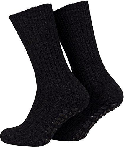 Piarini 2 Paar Stoppersocken mit Frotteesohle - ABS Socken Damen - Anti Rutschsocken mit Noppen aus Schafwolle - Wintersocken in schwarz Gr. 35-38
