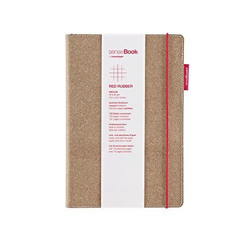 transotype senseBook RED RUBBER Design Notizbuch, medium - ca. A5, kariert, weitere Varianten auswählbar, mit rotem Gummiband, edles Rinderleder