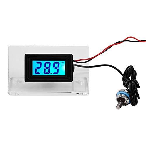 Bewinner Computer-Wasserkühlungs-Temperatur-Detektor, digitales Thermometer-Vorwahlknopfthermometer mit LCD-Bildschirm/Rahmen/wasserdichter Sonde für PC-Wasserkühlungssystem(Zeigerthermometer)