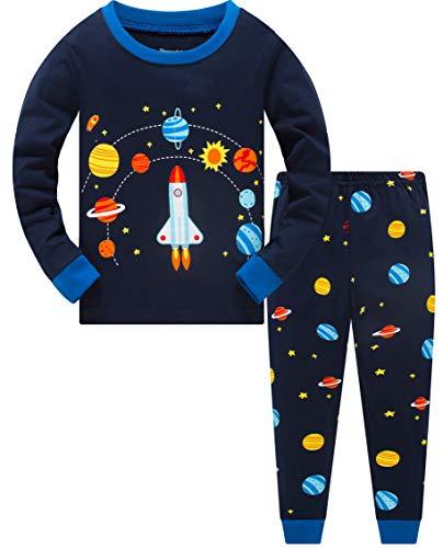 Jungen Schlafanzug Planet 100% Baumwolle Kinder Zweiteiliger Lange Ärmel Pyjama Set Kleinkind Nachtwäsche Pjs Outfits Blau 116