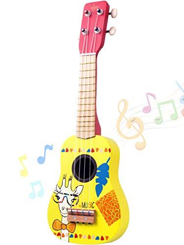 ウクレレ 4弦のギター おもちゃ 初心者UKULELE音楽の楽器玩具 教育の知育玩具 手製で木製 子供用 かわいい プレゼント (黄)