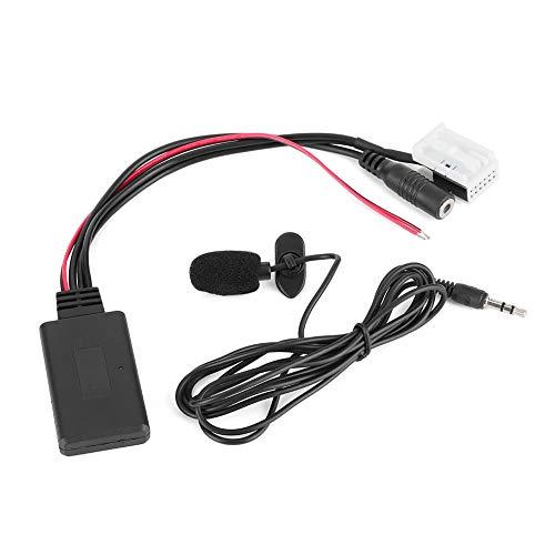 YOPOTIKA 12Pin Bluetooth Audio Cable Car Aux Adaptador Conector con Micrófono Apto para Citroen Berlingo Set Black