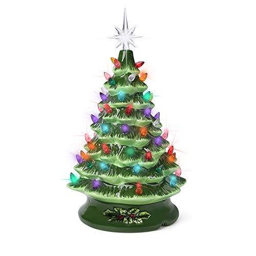 Green Ceramic Christmas Tree 13 Inch Prelit Christmas Decorations tabletop Winter Tree Décor with Multicolor Bulbs Star Topper Vintage Christmas lights