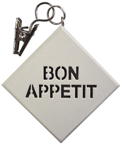 Aroa 21. Bon Appetit set decoratieve klemmen voor tafelkleden, kunststof, 4,5 x 4,5 x 1 cm, 4 stuks 4.5x4.5x1 cm wit