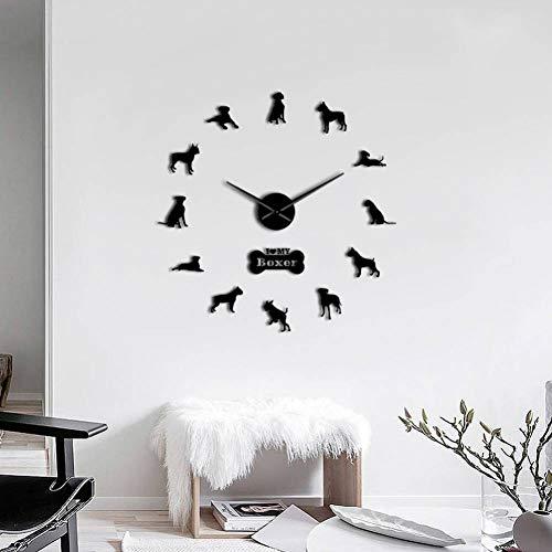 RRBOI Boxer Hunderasse 3D DIY Wanduhr Wohnzimmer Einzigartige Acryl Design Geschenkidee Für Hundewelpen Haustier Liebhaber Personalisierte Uhr Uhr 47inch (Schwarz)