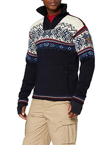 Dale of Norway Vail WP Masc Pull Homme Midnight Navy/Red Rose/Off White/Indigo/China Blue, M