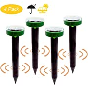 Fomei Ultrasonic Solar-Powered Mole Repellent Professional Mole Repeller Pest Deterrent Repelling Mole, Rodent, Vole, Shrew, Gopher, Snake for Outdoor(4 Packs)