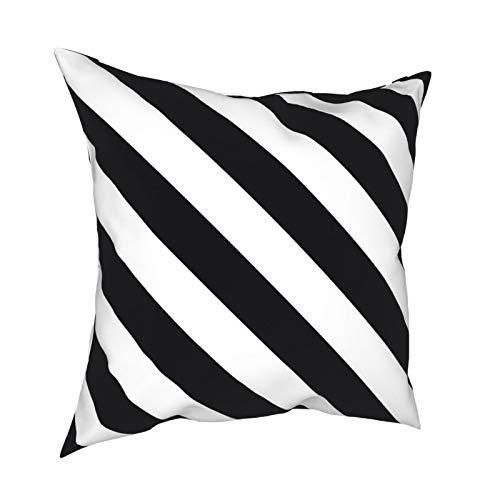 Fundas de almohada vintage geométricas negras y blancas a rayas de 45.7 x 45.7 cm – Impresión de doble cara, fundas de almohada cuadradas decorativas para sofá, cama, coche