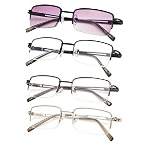 4-pack Half-rim Reading Glasses for Men and Women with Spring Hinges Metal Readers