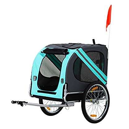 PawHut Folding Dog Bike Trailer Pet Cart Carrier for Bicycle Travel in Steel Frame - Green & Grey 1