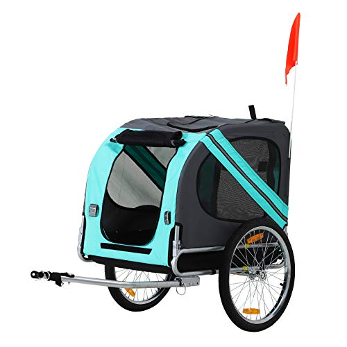 PawHut Folding Dog Bike Trailer Pet Cart Carrier for Bicycle Travel in Steel Frame - Green & Grey