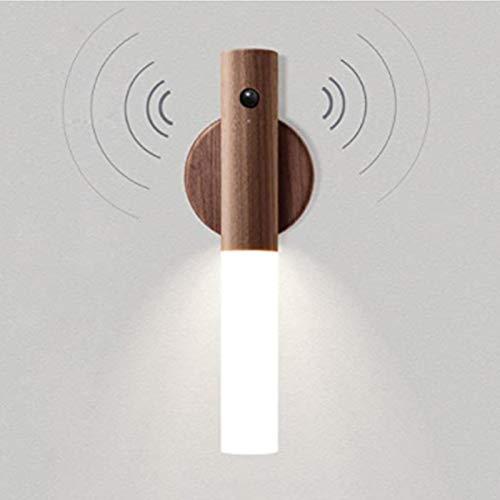 VOMI Batería Lámpara de Pared Madera con Sensor de Movimiento Interior Inalámbrica Aplique de Pared Inteligente Magnético Luz de Muro Portátil Recargable USB Luz Nocturna para Dormitorio Sala de Estar