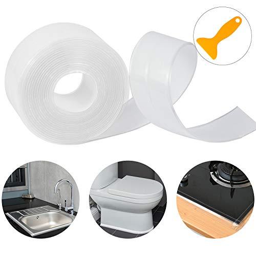 Dreetino Dichtband Selbstklebend, 3.2m PVC Wasserdicht Dichtband für Bad, Küche und Toilette mit Dichtungswerkzeug - Transparent (Single Falten)