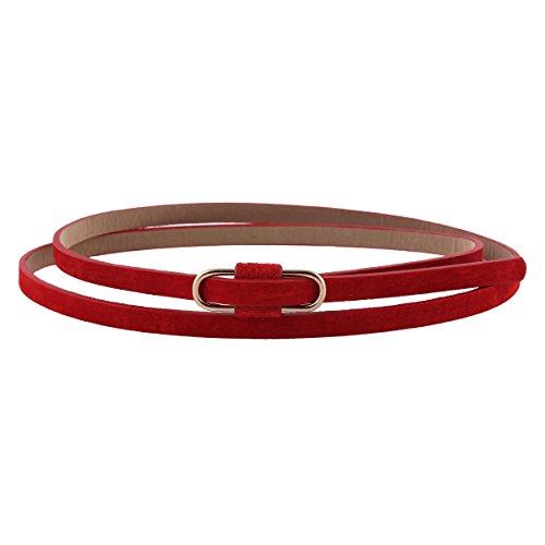 Damara Damen Super Schmal Poppig Jeans Kleid Belt Gürtel,Rot