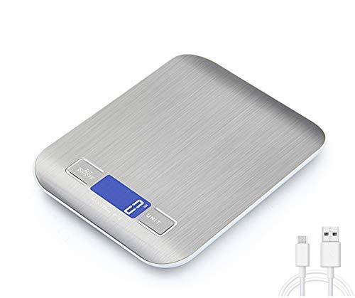 Generies Balance numérique pour cuisine avec charge USB, bascule de précision cuisine 5 kg/1 g, balance des aliments en acier inoxydable avec grand écran LCD, fonction tare