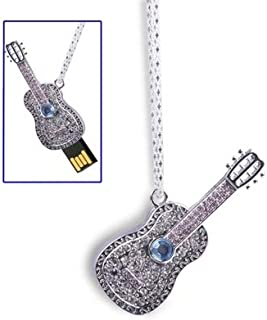 QGT USB Flash Drives Guitar Necklace Style USB 2.0 Flash Disk, 8GB (Silver)
