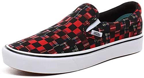Plaid Check Comfycush Slip-on Shoes, Red/True White Womens 9.5 / Mens 8