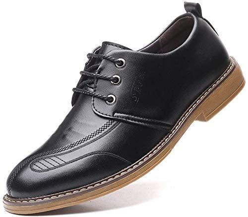 Black Leather Walking Shoes for Men Gum Soles
