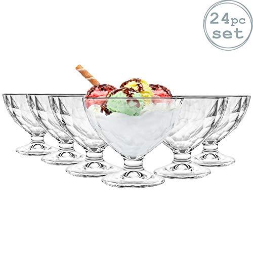 Pack de 24 cuencos de helado de Bormioli Rocco Diseño decorativo de la vendimia 'Diamond' - Reflejos de luz hacen que estas gafas de una obra maestra garantizada Apto para lavavajillas - Perfecto para el hogar y uso profesional Elaborado a partir de ...