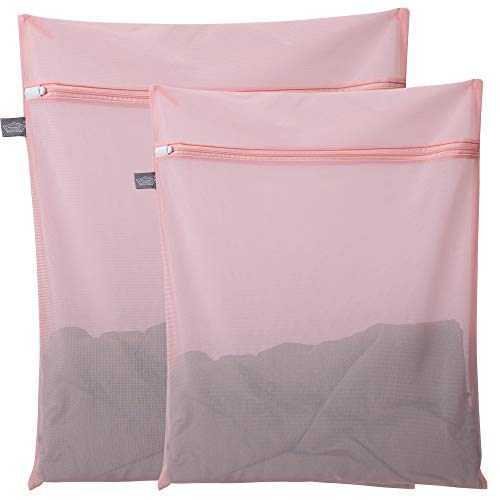 Kimmama Mesh Laundry Bag for Delicates, Lingerie Bag for Laundry, Bra, Underwear, Blouse, Shoes, Sock, Dress, T-Shirt (Pink,2 PCS)