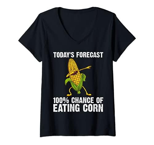 Mujer Regalo divertido del maz para los hombres y las mujeres del maz en la mazorca del traje del granjero Camiseta Cuello V