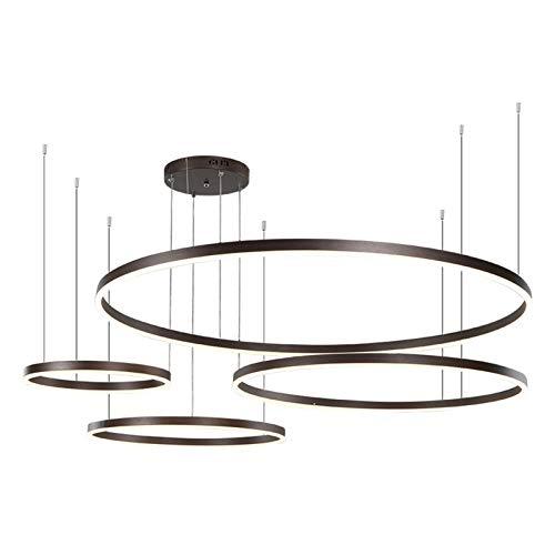 RongWang Luces Colgantes Modernas para Oro/Negro/Café, Sala De Estar, Comedor, Anillos Circulares, Accesorios De Lámpara De Techo LED De Aluminio Acrílico