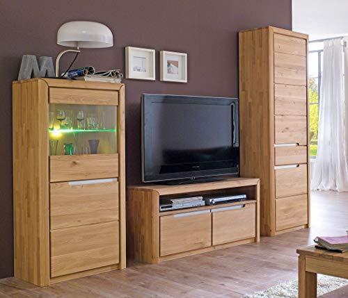 Wohnwand Pisa 27 Eiche Bianco massiv 3-teilig Medienwand TV-Wand Wohnzimmer TV-Möbel