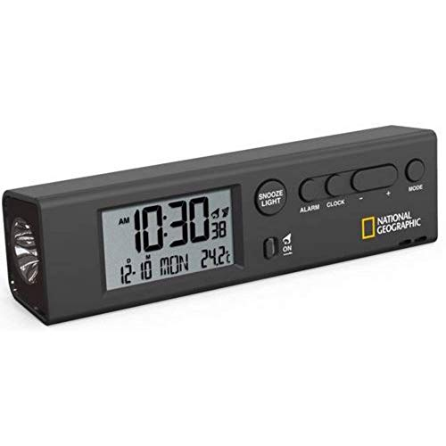 National Geographic Funkwecker Weltzeitwecker mit Uhrzeiten für 62 Städte weltweit, Taschenlampenfunktion und integriertem Thermometer