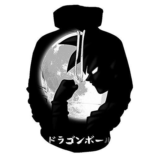 QUANNEN Hombres Dragon Ball Z Sudadera con Capucha de impresión 3D con Bolsillo Delantero