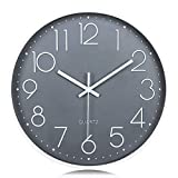 Lafocuse Relojes de Pared Números 3D Gris Fácil de Leer Reloj de Cuarzo Modernos Silencioso para Salon Comedor Oficina 30cm
