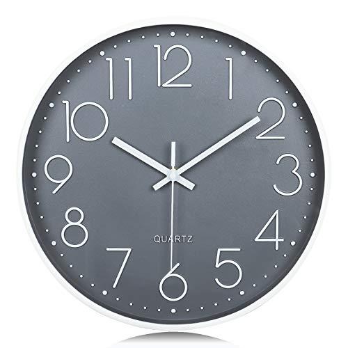 Lafocuse Relojes de Pared Números 3D Gris Fácil de Leer Reloj de Cuarzo Modernos...