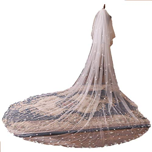 Heren Bruidssluier, Koreaanse Nieuwe Sticky Bloem Extra Lange 3,5 Meter Verbrede Trailing Grote Sluier Bruidsjurk Accessoires