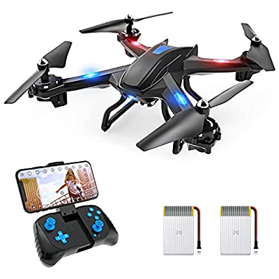 SNAP TAIN S5C WiFi FPV Drone with 720P Camera,Voice Control, Wide-Angle Live Video RC Quadcopter with Altitude Hold, Gravity Sensor Function, RTF One Key Take Off/Landing, Compatible w/VR Headset