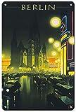 Cartel artístico de Berlín, nostálgico, clásico, de estaño, decoración de pared, regalo de 20 x 30 cm