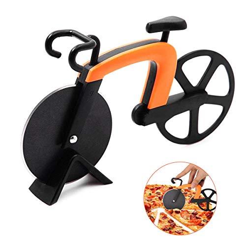 LATTCURE Fahrrad Pizzaschneider, Bicycle Pizza Cutter Antihaftbeschichtung Doppelpizzaschneider Edelstahl Pizza Schneidrad Cutter für Pizza & Teig(Orange)